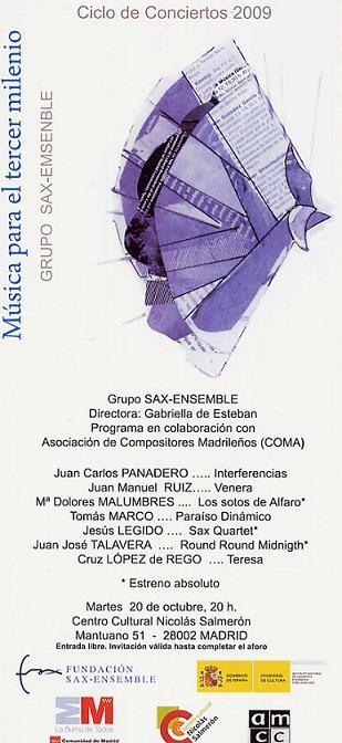 Imagen del programa del concierto, en el que participa Antonio Domingo