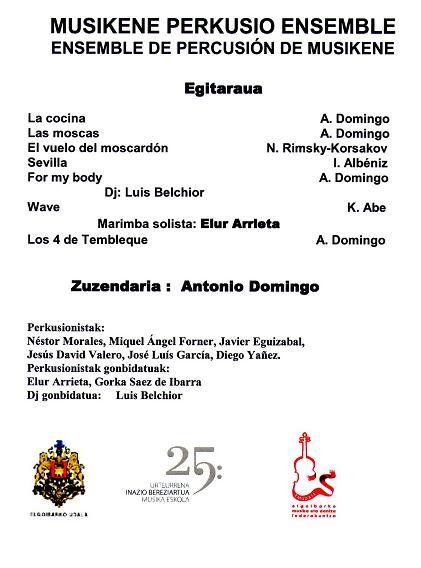 Programa de mano del concierto, dirigido por Antonio Domingo.